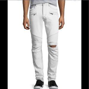 Hudson Blinder Biker Distressed Skinny Jeans White